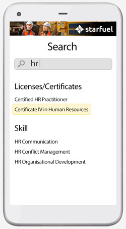 Search for licenses and certificates