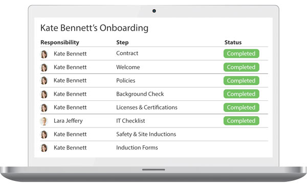 Induction and onboarding screenshot